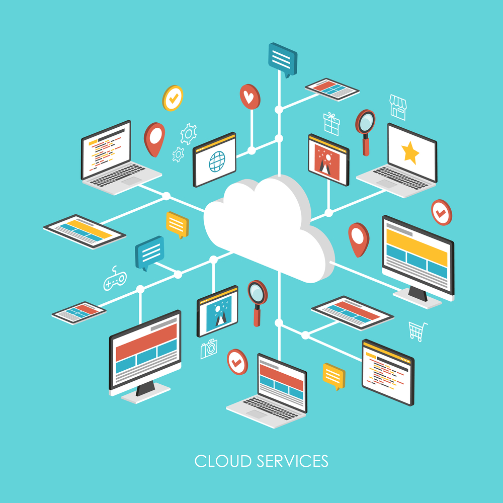"""""""cloud storage providers cloud services concept 3d isometric infographic over blue background"""""""