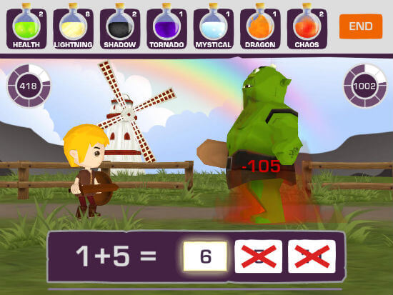 Screenshot of Medieval math battle app
