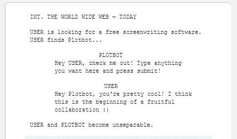 how plotbot free screenwriting software looks