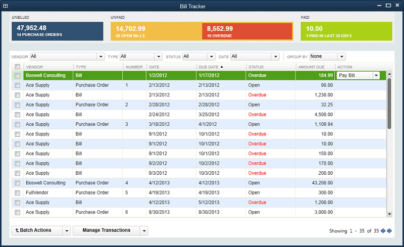 QuickBooks menu and interface