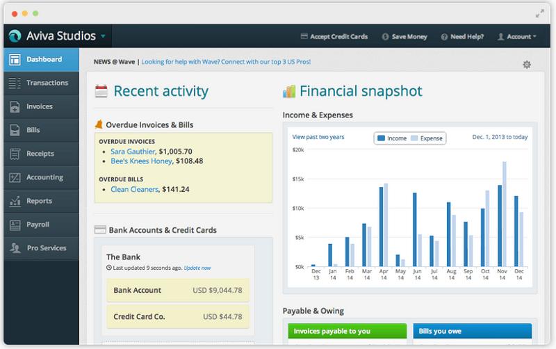 Wave accounting software screenshot