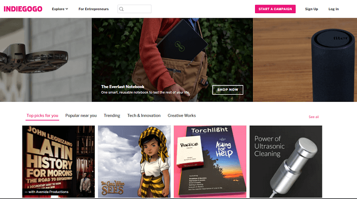 Indiegogo website screenshot