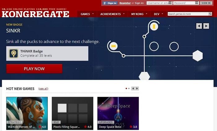 Kongregate Games interface