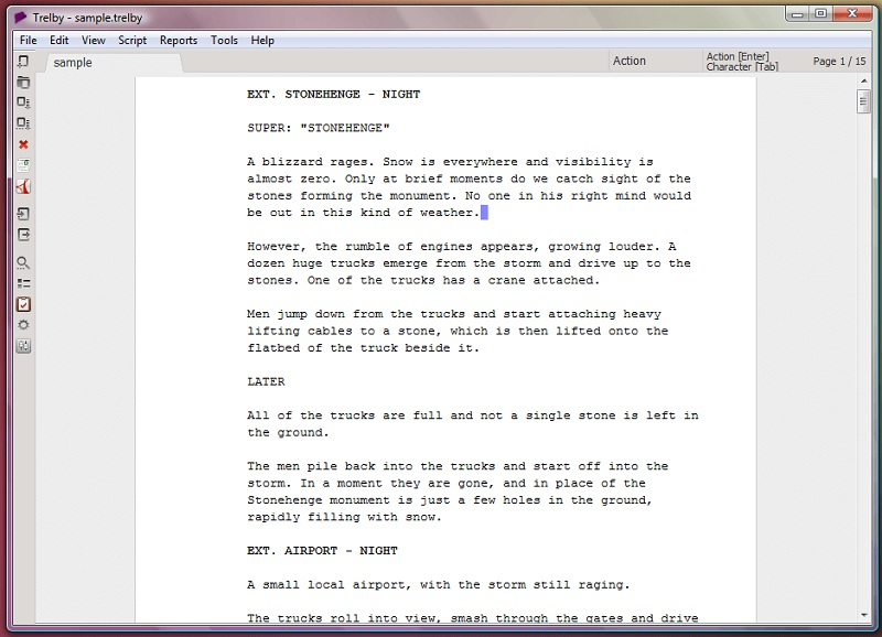 a sample project from trelby, a free screenwriting software