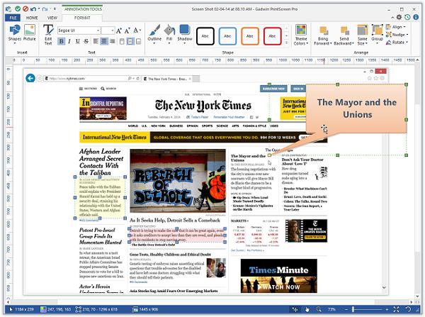 Gadwin PrintScreen screenshot being edited