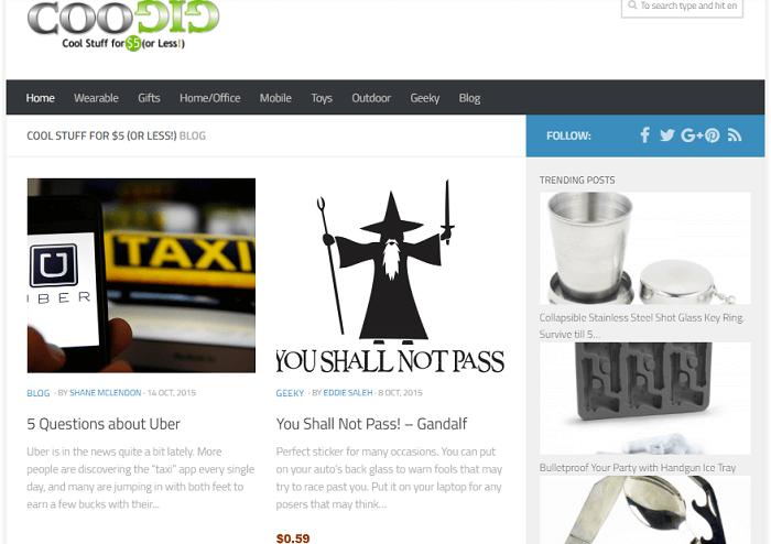 Coogig, a website like Thinkgeek