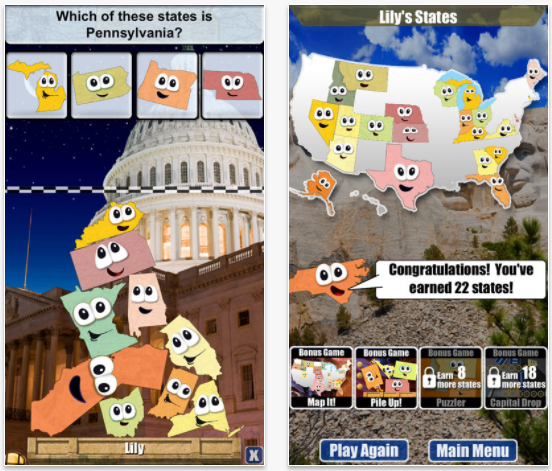 Stack the States, one of the best iPad apps for toddlers
