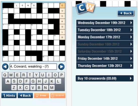 Daily Quick Crossword Puzzles app for iPad