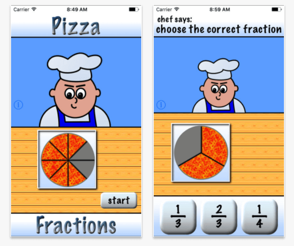 Pizza Fractions math app