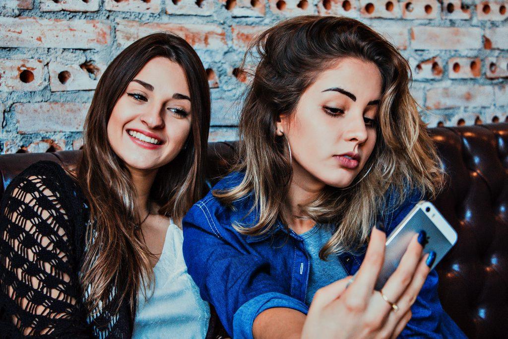 ladies taking selfie